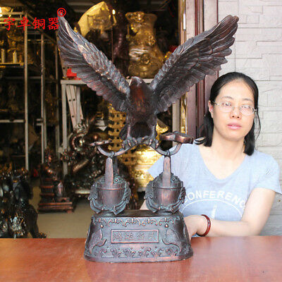 "24"" China old antique bronze Standing hawk eagle ruyi Statues Collection"