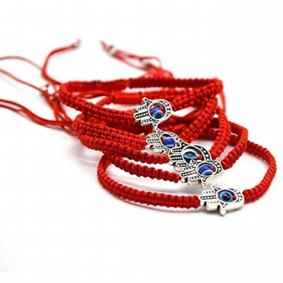 5X Good Luck Kabbalah BRACELET Hamsa Hand of GOD Evil Eye Adjustable Red String