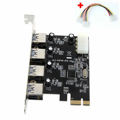 4Port 5gbps / S.Superspeed USB3.0 Pci-E PCI Express Karte Adapter mit / 4 Pin