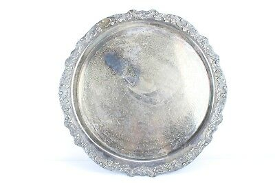 "HUGE 18.75"" Silver Plated Engraved Floral Vintage Tray 1883 FB Rogers Silver Co."