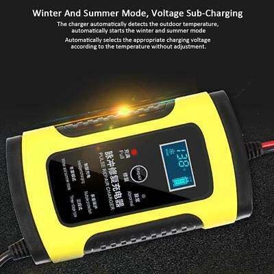 12V 6A LCD Motorcycle Car Battery Smart Repair Lead-Acid Storage Fast Charger