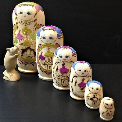 Nest of 6 - MASSIVE 26cm Tall -  Wood Babushka Dolls - Glitter, Hand Painted