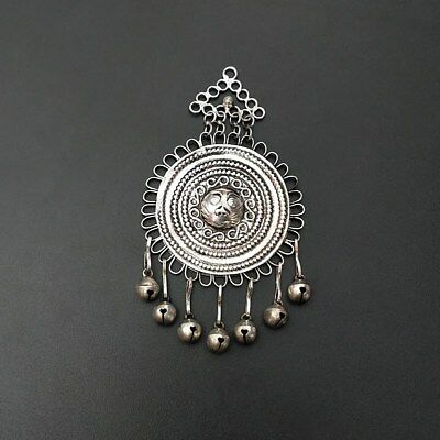 Tribal exotic Chinese handmade jewelry Miao silver sun pendant