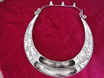 Tribal Chinese zodiac diy handmade Miao silver inlaid collar hollow necklace