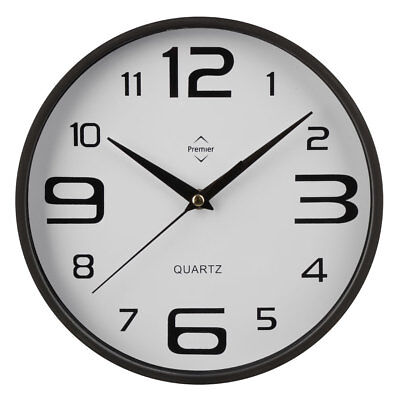 Premier Housewares Wall Clock, Round Black & White, Plastic, Large Numbers
