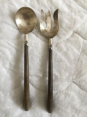 Vintage 2pc Ornate Taxco Mexican Wooden Handle Sterling Silver Salad Fork Spoon