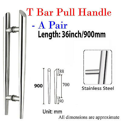 "Pair Of Entrance Large T Bar Door Pull Handle 36""/ 90cm /900mm Stainless steel"