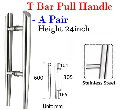"""Pair Of Entrance T Bar Door Pull Handle Stainless Steel 24"""" /60cm/600mm."""