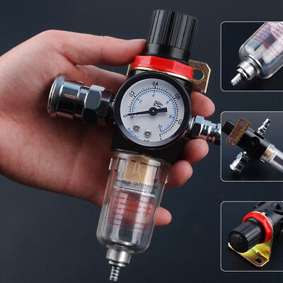 1/4'' Air Compressor Filter Water Moisture Separator Trap Tools Regulator Gauge