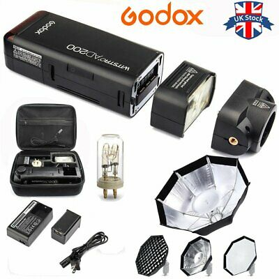 UK Godox 2.4 TTL HSS AD200 1/8000s Pocket Flash Light+Free AD-S7 Softbox Kit
