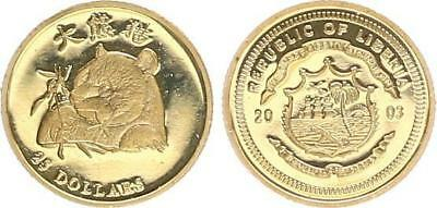 LIBERIA 25 DOLLAR Gold Panda With Bamboo Pf Proof Pf In Coin