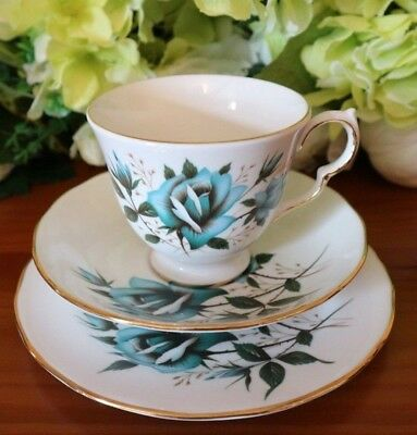 Royal Vale China Turquoise Blue Roses Vintage TrioTea Set