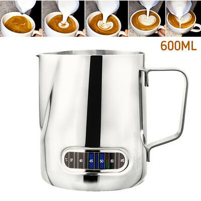 0.6L Stainless Steel Milk Frothing Jug Thermometer Coffee Pitcher Latte Espresso