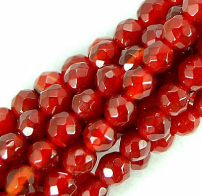 6mm Faceted Natural Red Ruby Gemstone Round Spacer Loose Beads 15'' AAA