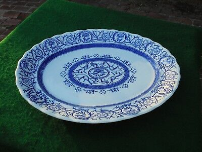 HUGE ANTIQUE ENGLISH BLUE & WHITE STAFFORDSHIRE PLATTER c1900 AMAZING CONDITION