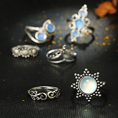 Novelty Stone Knuckle Ring Set Opal Flower Knuckle Fashion Delicate Gifts N7