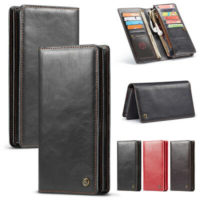 Leather Flip Wallet Card Stand Shockproof Case Cover For Huawei Phone Universal