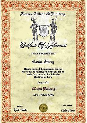 Diploma Certificate  A4 cream laid paper ( Novelty )