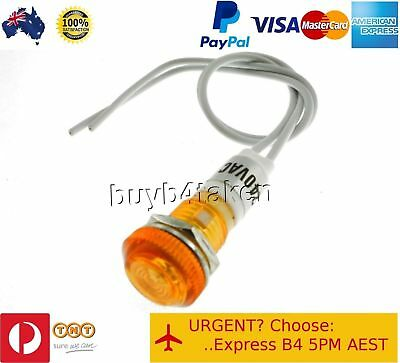 50x Amber Pilot Light Indicator Lamp 240V Panel Mount Signal Led Neon 10mm hole