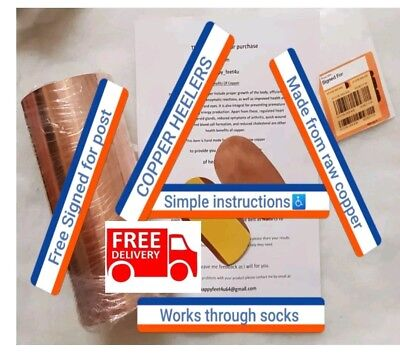 Copper Heelers Insoles hand  made from raw copper for pain relief and comfort