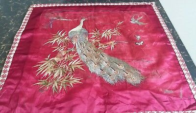 """Antique Chinese Qing Dynasty Hand Embroidered On Silk Size 23""""x24(Cm59x62)"""