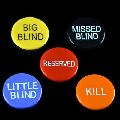 1 Set of 5 pcs Small/Little/Missed Blind Reserved Kill Poker Buttons Chips Game