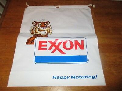 "vintage Exxon Happy Motoring Draw String Plastic Bag 12"" X 15"" new"