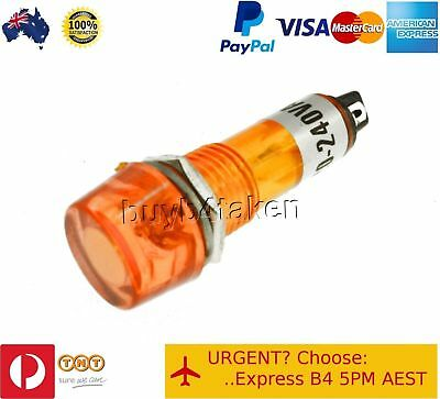 100x Amber Pilot Light Indicator Lamp 240V Panel Mount Signal Led Neon 10mm hole
