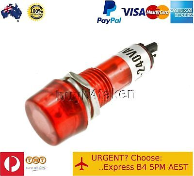 100x Red Pilot Light Indicator Lamp 240V Panel Mount Signal Led Neon 10mm hole