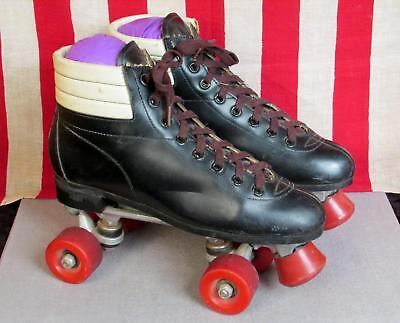 Vintage Mens Roller Skates Black/White Size 9 M Good Wheels & Bearings Nice