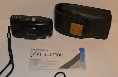 OLYMPUS U(mju) ZOOM 35mm FILM CAMERA WEATHERPROOF With Case & Manual