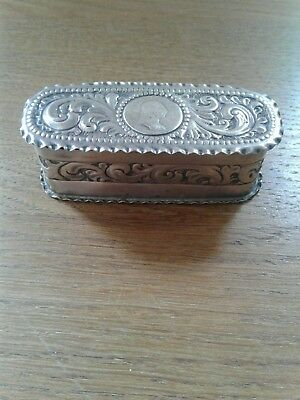 Antique Victorian Solid Sterling Silver Oval Box London 1891