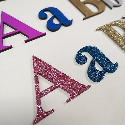 Wooden Letters, Numbers Alphabet Letters, Numbers,  MDF Painted Glitter 20 Fonts