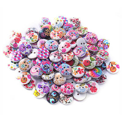 100pcs 2 Holes Wooden Button Mixed Flowers Round DIY Sewing Scrapbooking 15mm