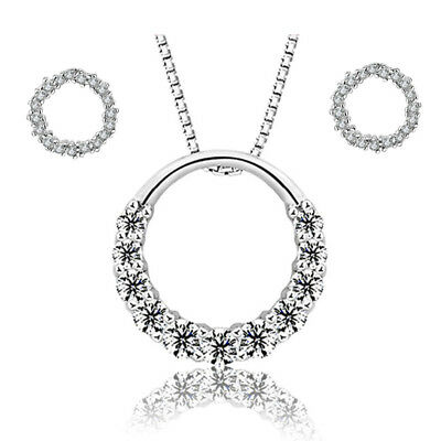 925 Sterling Silver Circle The Zircon Earring And Necklace Women Jewellery Gift