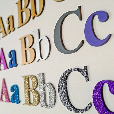 Wooden Letters MDF  Alphabet Letters, Numbers,  Painted Glitter 20 Fonts COLOUR