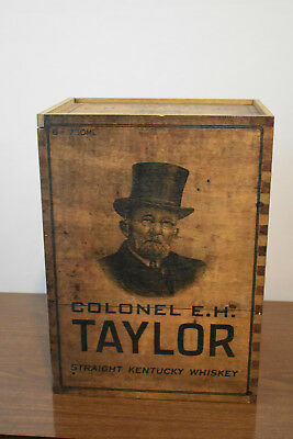 Colonel E  H Taylor Straight Kentucky Whiskey Wooden Crate box EMPTY eh