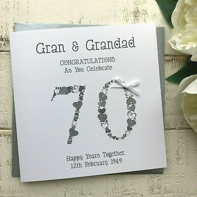 Handmade Personalised 70th Platinum Wedding Anniversary Card Mum Dad Nan Grandad