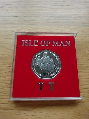 Isle Of Man TT 1996 Large 50p Coin Uncirculated UNC In Display Case Fifty Pence