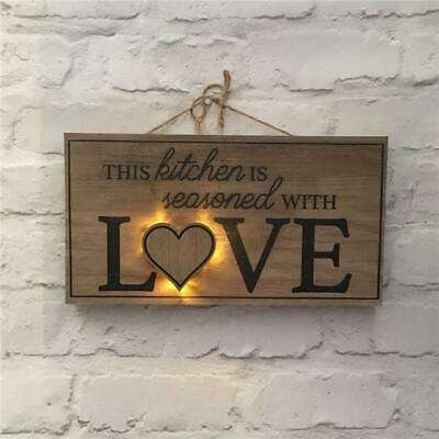 Rustic Wooden LED Light Plaque Wall Mounted Sign Kitchen Vintage Gift Idea