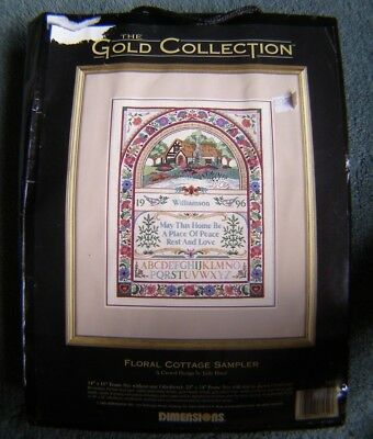 The Gold Collection Dimensions Crewel Embroidery Kit Floral Cottage Sampler 1451