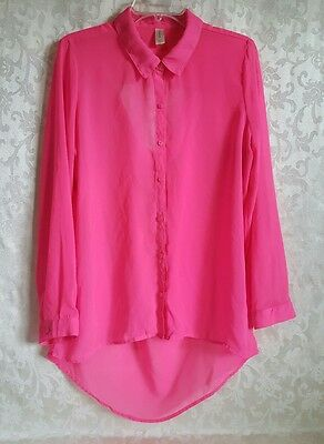 No Boundaries Youth Girls Size XL 14-16 Pink Long Sleeve Button Down Casual EUC