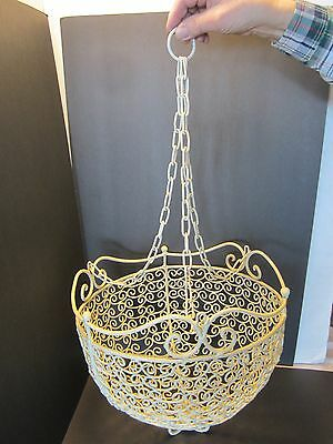 """Antique Style hanging basket country bail wire Basket Ivory Chic 33"""" H."""