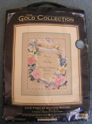 The Gold Collection Dimensions Crewel Embroidery Kit Love Forever Wedding Record