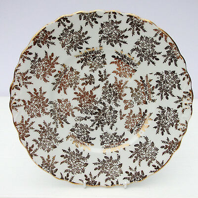 Vintage Royal Vale Bone China Gold Chintz Floral Cake Plate