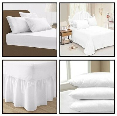 White Plain Dyed Fitted Flat Valance Bed Sheets Pillow Case All sizes