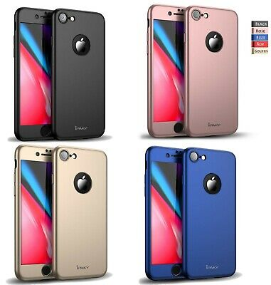For iPhone 7 Case Shockproof Silicone 360 Cover Tempered Glass Screen Protector