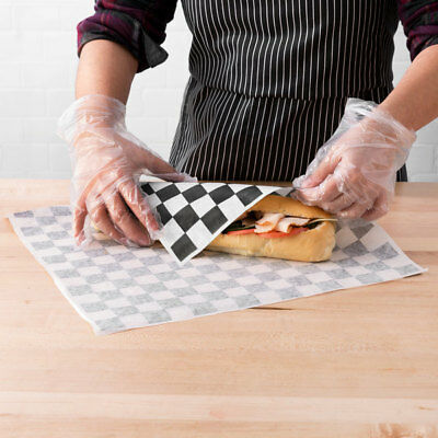 "(1000 Pack) 15"" x 15"" Black Check Deli Sandwich Wrap Paper"