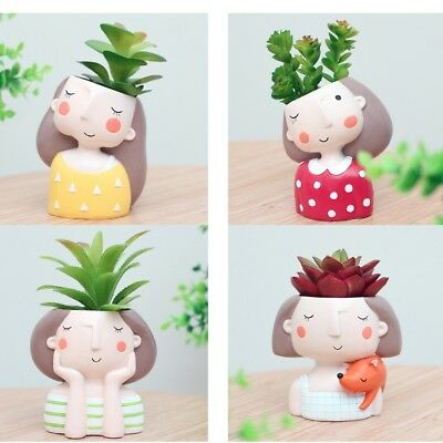 Blesiya Set Girl Resin Succulent Pot Cactus Pot for Office Home Desk Decor