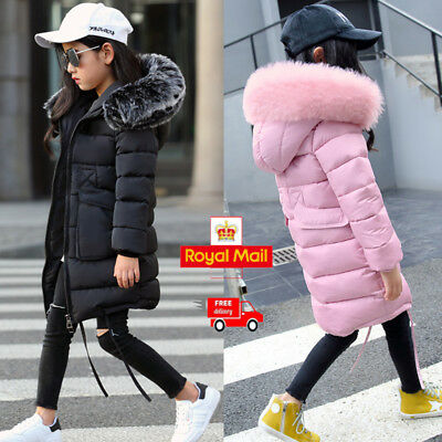 Girls Kids Padded School Quilted Winter Coat Jacket Puffer Fur Hooded Long Park